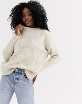 New Look bobble argyle sweater in oatmeal