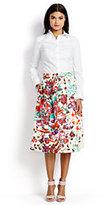 Classic Women's Petite Stretch Poplin Midi Skirt-Falling Petals