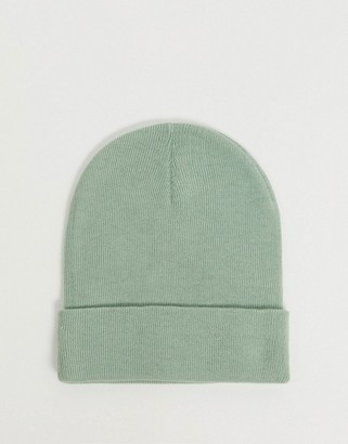 ASOS DESIGN recycled polyester deep turn up beanie hat in sage