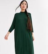 Monki oversized midi t-shirt dress in dark green