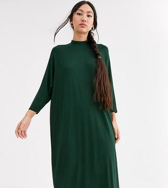Monki oversized midi t-shirt dress in dark green