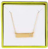 BaubleBar 14K Gold Plated Ice &H& Initial Bar Pendant Necklace