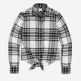 J.Crew Factory Plaid tie-waist shirt
