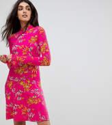 Asos Tall Mini Tea Dress With High Neck In Pink Bamboo Print