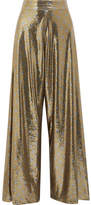 Johanna Ortiz - Polka-dot Sequined Mesh Wide-leg Pants - Gold