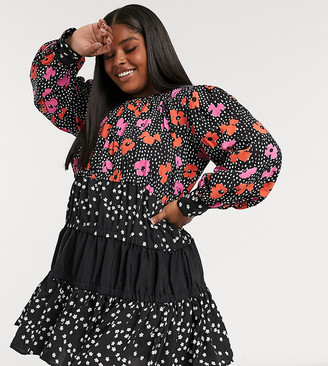 ASOS DESIGN Curve tiered mini smock dress in mixed floral and spot print