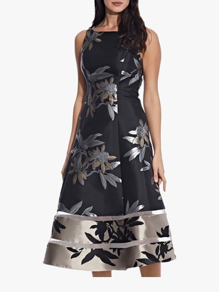 Adrianna Papell Floral Jacquard Dress, Black/Champagne