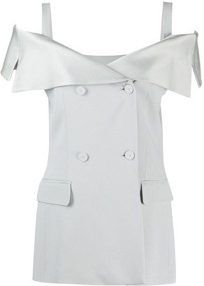 Alberta Ferretti Off-Shoulder Button Blouse