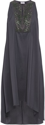 Brunello Cucinelli Asymmetric Bead And Sequin-embellished Silk-blend Midi Dress