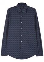 Pal Zileri Dark Blue Optical-jacquard Shirt