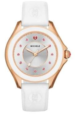Michele Cape Pink Topaz, Rose Goldtone IP Stainless Steel & Silicone Strap Watch