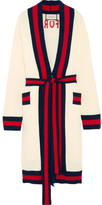 Gucci Embellished Striped Cotton-blend Terry Cardigan - Cream