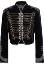Roberto Cavalli Embellished Cropped Velvet Jacket - Midnight blue