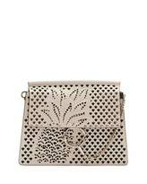 Chloé Faye Medium Perforated-Pineapple Shoulder Bag, Abstract White