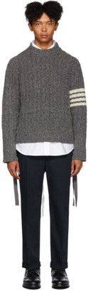 Thom Browne Grey Aran Cable 4-Bar Sweater