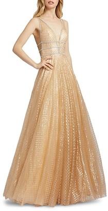 Mac Duggal Lattice-Print Sparkle Ball Gown