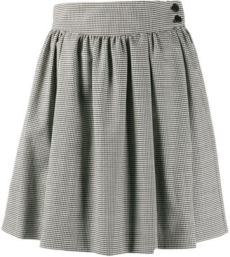 MSGM houndstooth pleated mini skirt