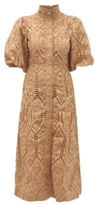 Ganni Crystal-button Puff-sleeve Broderie-anglaise Dress - Womens - Beige