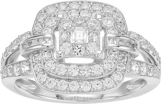 Unbranded 10k White Gold 1 Carat T.W. Diamond Tiered Halo Ring