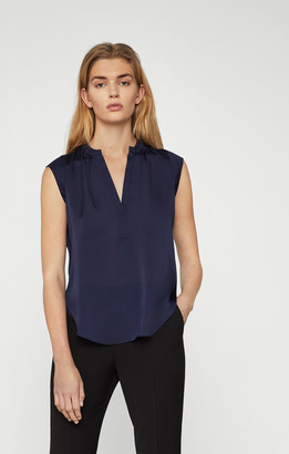 BCBGMAXAZRIA Satin Notch Collar Top