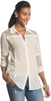 Chico's Beautiful Burnout Natural Cream Blanche Shirt
