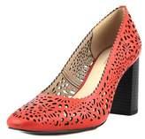 Isaac Mizrahi Zora Women Square Toe Leather Red Heels.