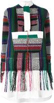 Sacai patchwork detail shirt dress - women - Cotton/Acrylic/Polyester - 3