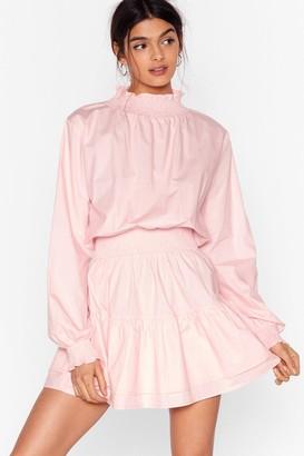 Nasty Gal Womens Frill I Found You High Neck Mini Dress - Baby Pink