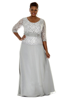 Sydney's Closet - SC4020 Plus Size Dress in Dove Gray