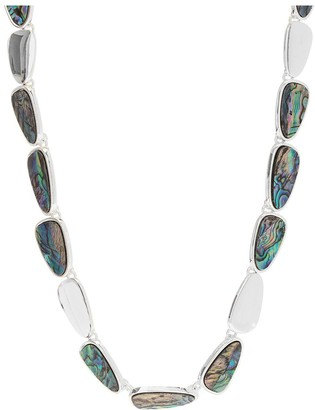 Mood Silver Plated Abalone Inlay Necklace