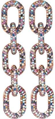 Nickho Rey Pave Crystal Chain-Link Earrings