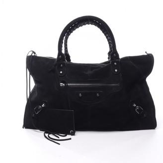 Balenciaga City Black Suede Handbags