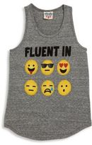 Junk Food Clothing Girl's Fluent In Emoji Tank