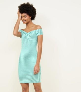 New Look Stripe Ruched Bardot Bodycon Dress