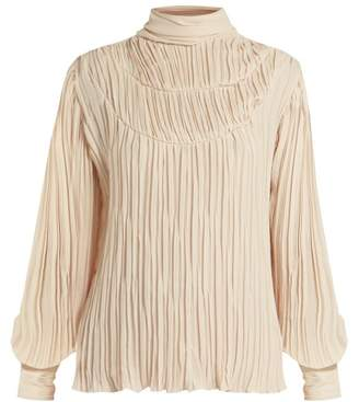 Johanna Ortiz Martina Cespedes Pleated High Neck Blouse - Womens - Cream