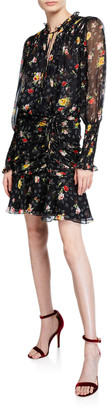 Veronica Beard Armeria Floral-Print Ruched Short Dress