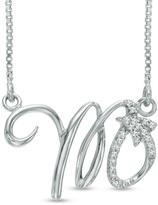 Zales Diamond Accent Abstract Scorpio Zodiac Sign Necklace in Sterling Silver
