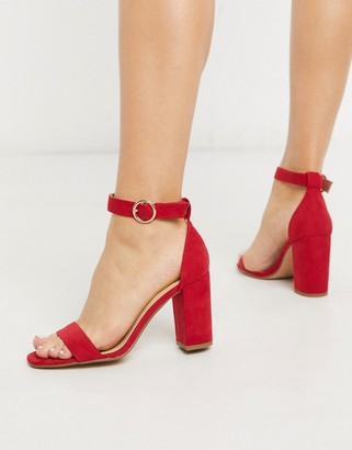 Pimkie block heeled sandals in red