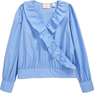 Scotch R'Belle Kids' Crispy Cotton Ruffle Wrap Shirt