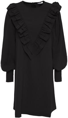 Ganni Ruffle-trimmed Stretch-crepe Mini Dress