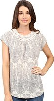 Lucky Brand Women's Cap Sleeve Top with Yoke in White Multi