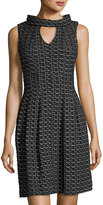 Taylor Knit-Jacquard Keyhole Dress