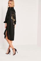 Missguided Black Tall Embroidered Back Shirt Dress
