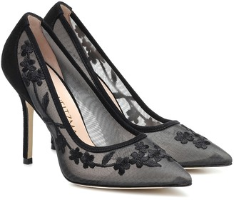 Stuart Weitzman Tasha 100 embroidered mesh pumps
