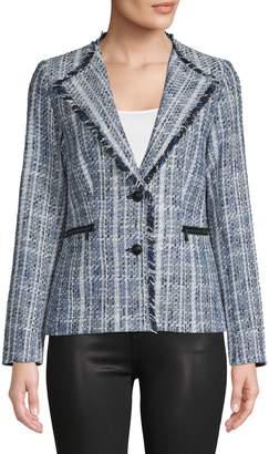 Karl Lagerfeld Paris Shawl Collar Tweed Jacket