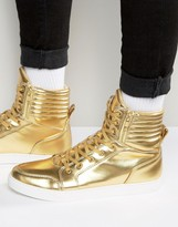Asos Trainers In Gold With Large Cuff And Zips