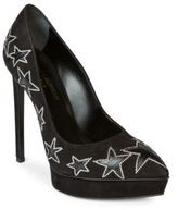 Saint Laurent Janis Star Suede Platform Pumps