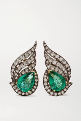 Amrapali Sterling Silver And 18-karat Gold, Emerald And Diamond Earrings - one size