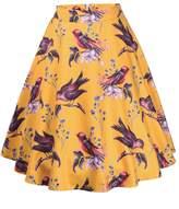 Ruiyige Women's High Waist Floral/Polka Dots Print Pleated Skirt Midi Skater Skirt M