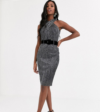 Paper Dolls Tall belted halterneck shimmer dress in charcoal silver